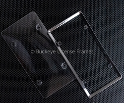Chrome Framed Protective Bubble Plate Cover