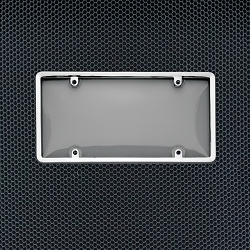 Chrome Framed Protective Smoke Tint Bubble Plate Cover