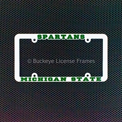 Michigan State University Spartans Plastic License Plate Frame White with Raised Green Lettering