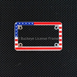 USA Flag Chrome Motorcyle License Plate Frame - Metal