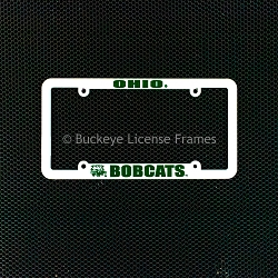 Ohio University Bobcats White Plastic License Plate Frame with Raised Green Lettering
