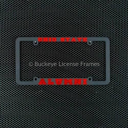 Ohio State University Alumni Black Plastic License Plate Frame with Raised Red Lettering