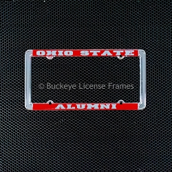 Ohio State University Alumni Chrome License Plate Frame With Red Background And Raised Silver Lettering - Metal