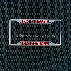 Ohio State University Basketball License Laser Inlaid Plate Frame - Metal