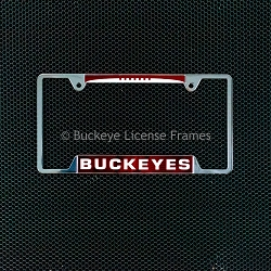 Ohio State University Buckeyes Chrome Laser Magic Inlaid License Plate Frame- with Footbal Top - Metal