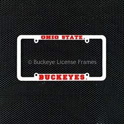 Ohio State Buckeyes White Plastic License Plate Frame with Raised Red Lettering
