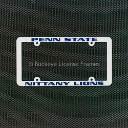 Penn State University Nittany Lions White Plastic License Plate Frame with Raised Blue Lettering