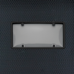 Black Framed Protective Smoke Tint Bubble Plate Cover