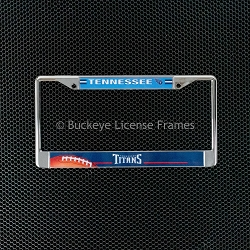 Tennessee Titans Chrome License Plate Frame - Football in Lower Left Corner - Metal