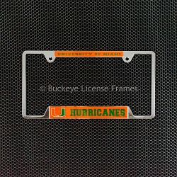 University Of Miami Hurricanes Chrome License Plate Frame - Metal