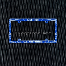 United States Air Force Sky Camouflage Full Color Plastic License Plate Frame-AIM High - Military