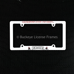 Youngstown State University Penguins Screen Printed White Plastic License Plate Frame
